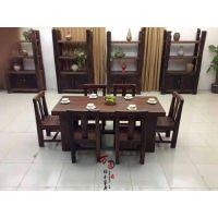 现货老船木餐桌 长方形餐桌椅组合 新中式古典餐桌 仿古圆形餐桌