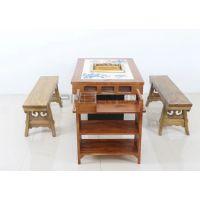 古典中式实木镶嵌青花瓷大理石火锅桌椅厂家定制
