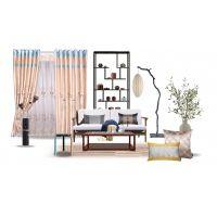 新中式窗帘风格--城市领秀窗帘品牌--仿真丝面料绣花垂直帘一枝独秀