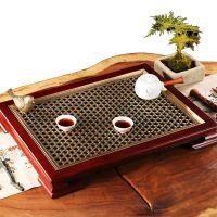 编织茶台新中式家具墨绿铜茶盘实木茶几茶海中式铜屏风