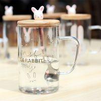 HOLY欢乐兔透明花茶杯单层高硼硅玻璃耐热泡茶杯子卡通情侣杯配勺子