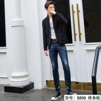 供应杰克威尔奇2018秋冬新款男士韩版修身小脚牛仔长裤8806
