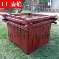 田园风落地式防腐木花盆 种菜箱种竹子 园林用品批发 直接放土种花 街道绿化箱 红色木箱