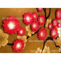 创意复合材质花朵壁挂饰品 酒店会所墙面装饰艺术品挂件