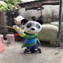 景区装饰新款功夫道具玻璃钢卡通熊猫雕塑造型户外摆件