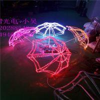 2018古镇LED灯光节 光纤地插 水母造型灯 雨伞装饰灯