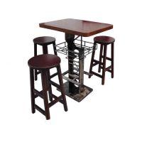 深圳田园餐厅吧台吧椅订制,长条靠边实木吧台方桌,餐饮家具工厂