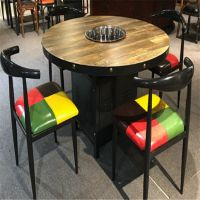 实木无烟烧烤火锅桌椅组合电磁炉一体餐厅桌子定制批发