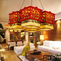 中式羊皮吊灯饰实木祥云方形四头餐厅客厅酒店大堂中国风灯具