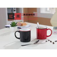 热卖仿搪瓷直身杯早餐牛奶挂耳咖啡杯黑红纯色300ml水杯陶瓷广告杯