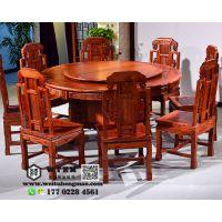 天津实木酒店大小圆桌,现代中式餐桌餐椅价格