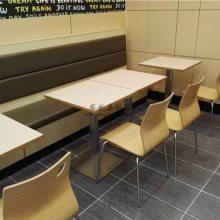 靠墙卡座沙发和餐桌椅定做,揭阳简约现代风格板式餐饮家具组合