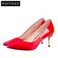 供应narrnan2017春夏新款HQ1706牛皮拼色浅口高跟鞋女性感金属细跟单鞋红色