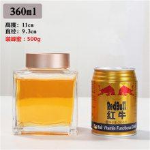 玻璃扁方蜂蜜瓶一斤装 高档玻璃蜂蜜瓶350ml