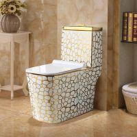 彩色陶瓷卫浴高档金色抽水式洁具马桶座便器