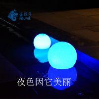 海粒子led发光球七彩灯太阳能水池灯批发
