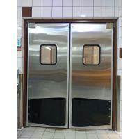 卡森自由门超市便利店商场酒店厨房工厂304不锈钢4CM双开防撞金属自由门