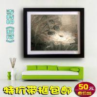 带框中国画 李晓明工笔花鸟字画秋荷 现代客厅卧室餐厅装饰画d219