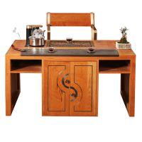 素色本韵茶桌纯铜家具新中式乌金石纯铜茶盘硬包嵌铜条