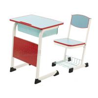 东莞格友家具厂家批发时尚蓝色课桌椅,钢木学生桌椅可升降