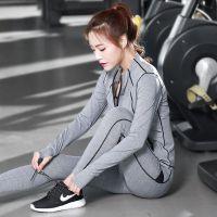 春季新款长袖女款跑步运动速干健身服套装瑜伽服女三件套一件代发