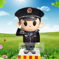 玻璃钢卡通警察人物雕塑公园园林商场电影院装饰品摆件