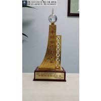 广州市制作钢结构金奖奖杯,合金材质奖杯,建筑工程协会奖杯定制