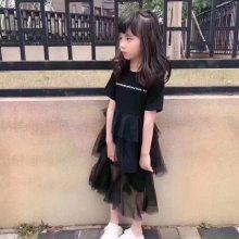 名媛风亮片蕾丝公主童裙 夏季女童 韩版蝴蝶结连衣裙无公主蕾丝拼接连衣裙