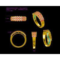 银镀金镶嵌红宝石男款戒指私人订制 男女戒指尺寸 —水晶首饰加工