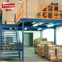 广东重型钢结构阁楼式货架平台铺钢扣板带楼梯货架汽车4S店货架