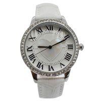 深圳手表厂家OEM卡地的亚镶钻女款真皮表带防水石英手表