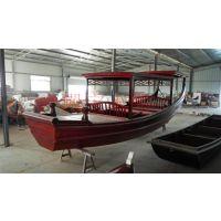 造船厂家供应木质高低篷船 景区手划观光船 公园游览 水库仿古游乐木船