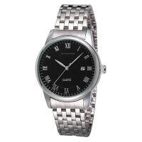 厂家批发男款男士手表钢带日历经典款钢带防水石英表