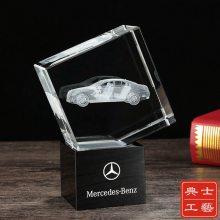 汽车厂家送客户的小礼物,水晶内雕摆件,汽车模型纪念品定制,企业送给客人的纪念品