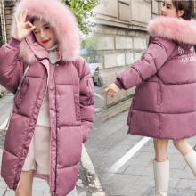 冬装韩版女款女式女装羽绒服女中长款 新加厚超大毛领新款批发白鸭绒