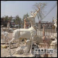 汉白玉石雕母子鹿草坪摆件麋鹿精品动物雕塑