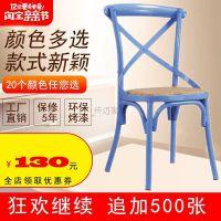 铁艺交叉椅复古个性铁椅休闲简约主题餐厅椅咖啡厅金属酒店宴会椅