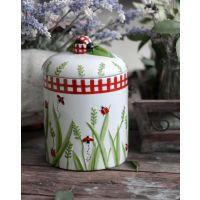 浮雕手绘七星瓢虫陶瓷密封罐 个性可爱创意条纹西式收纳储物罐