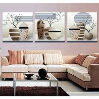 中国风系列 实木 喷绘油画厂家批发 客厅静物瓶花装饰画 三联无框帆布画 软装配画