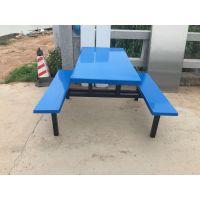 惠州大亚湾职工食堂饭桌椅安装、条凳四人位餐台椅价格、绿色蓝色玻璃钢凳面价格