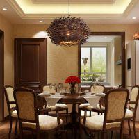 竹藤餐厅吊灯 农家乐客厅阳台创意鸟巢灯中式灯具灯饰竹艺吊灯