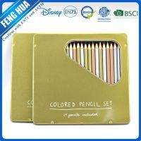 kjin盒装24色彩笔 24色彩色铅笔入铁盒 一头削尖儿童学生绘画彩色铅笔