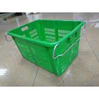 厂家直销重庆乔丰 PE塑料周转框蔬菜框带铁耳框67*48*37