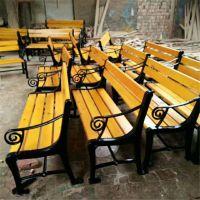 公园座椅 户外公园休闲座椅 塑木平凳 长椅 靠背椅 铸铁腿防腐木园林座椅
