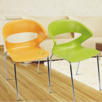 东莞彩色塑钢椅加固会议椅时尚休闲椅四脚塑料椅子会客椅培训椅