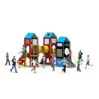 以伦游乐户外儿童PE板工程塑料组合滑梯,新款游乐设施,740*650*330cm幼儿园室内家具等