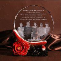 同学聚会礼品定制 水晶照片内雕纪念品 高档陶瓷纪念摆件制作厂家