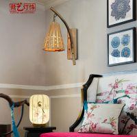 东南亚竹编灯具田园壁灯创意个性酒吧咖啡厅过道竹编木艺壁灯