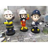 深圳港城雕塑厂家批发零售政府消防文化玻璃钢消防员卡通雕塑摆件