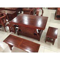 泊头老榆木家具厂家供应 古典中式茶楼茶桌